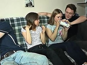 College sex orgy - amateur teen foursome tube